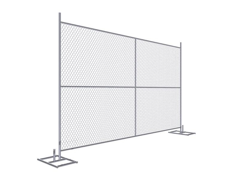 A drawing of 8' × 12' temporary chain link fence with cross support.