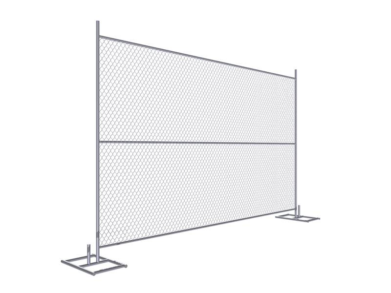 A drawing of 8' × 12' temporary chain link fence with horizontal support.