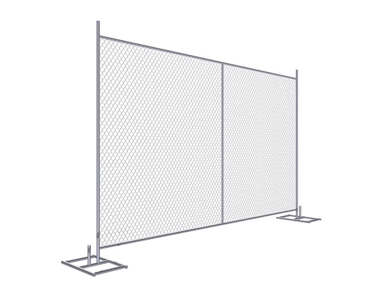 A drawing of 8' × 12' temporary chain link fence with vertical support.