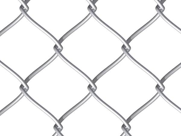 A piece of galvanized chain link fencing fabric on white background.