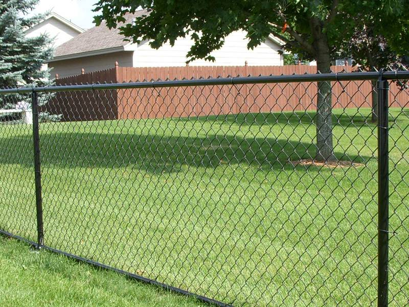 A line of chain link fencing is surrounding the grassland.