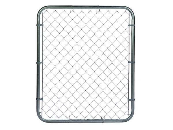 A single gate with galvanized chain link fencing fabric on white background.