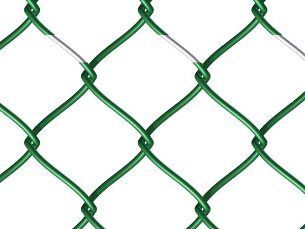 A piece of color coated chain link fencing fabric on white background.
