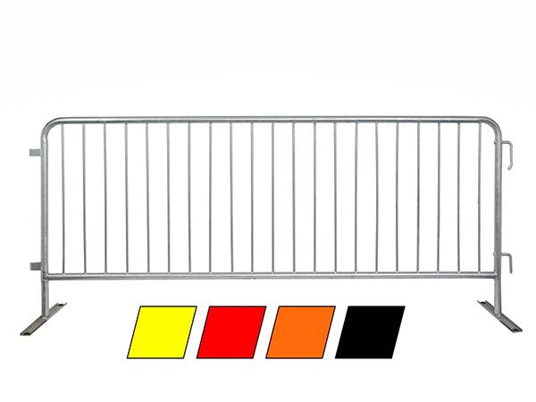 A hot dipped galvanized crowd control barrier with four colors below: yellow, red, black and orange.
