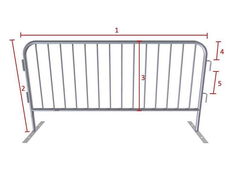 A drawing shows a steel barricade and showing the needed specification.