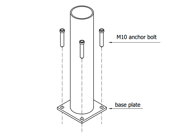 The technical drawing of fixing post and flange.