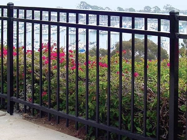 3-rail black ornamental steel tubular fence with flat top.