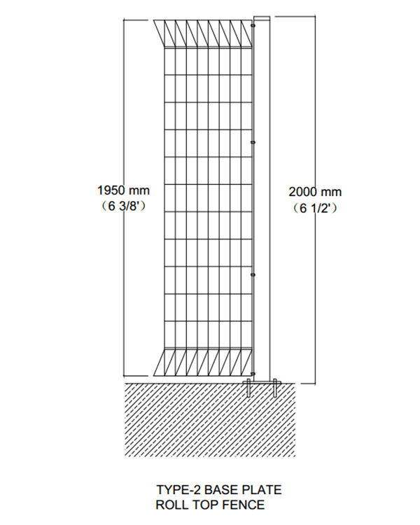 The technical drawing of installing brc fences on concrete ground.