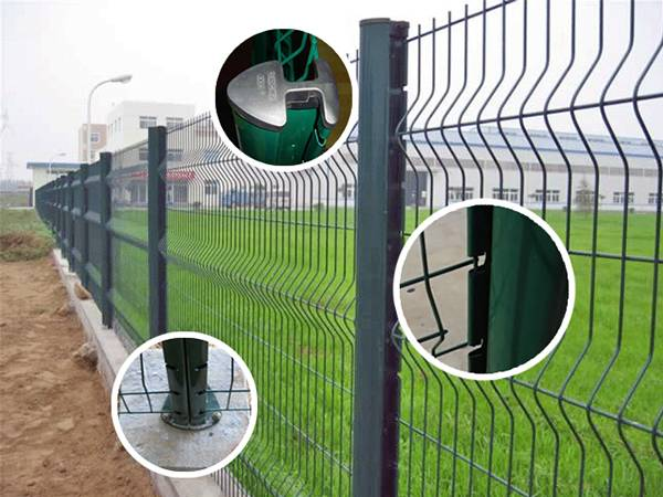 Green peach fence with detail pictures, including rain coat, post base and fence clipped into the post.