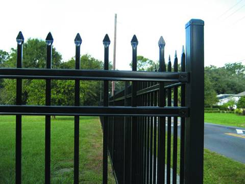 A close up picture of fencing post for ornamental steel tubular fence.