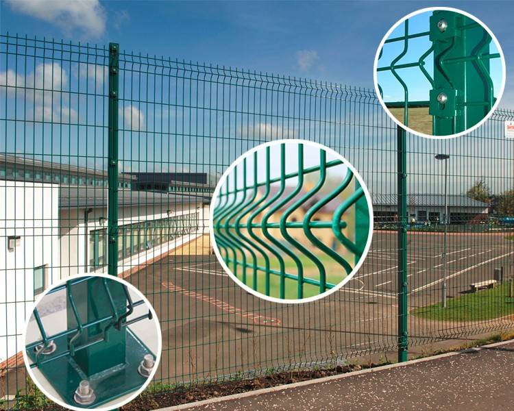 Green rectangular fence with detail pictures, including curve, post base and accessories.