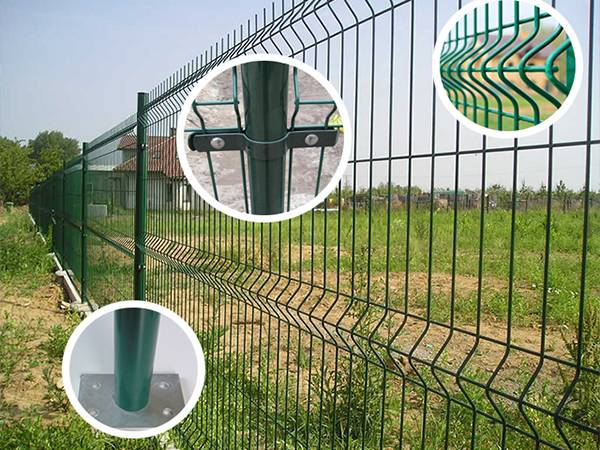 Green round fence with detail pictures, including clips, curves and post base.