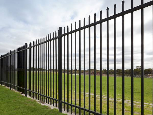 3-rail black ornamental steel tubular fence with spear top.