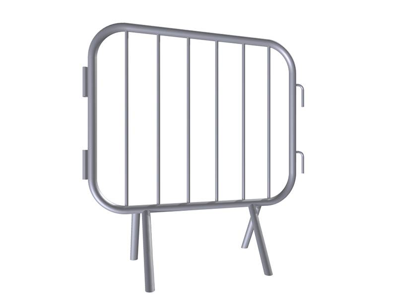"A drawing of 39"" length steel barricade with fixed feet."