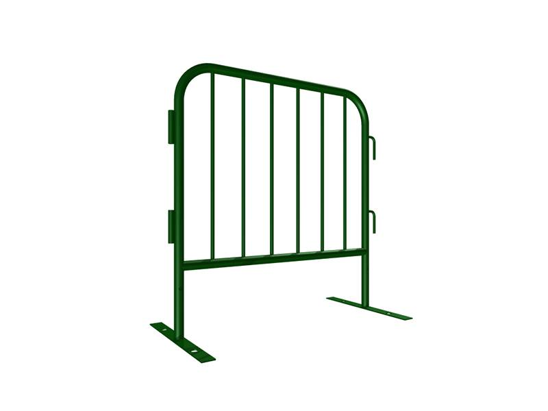 "A drawing of 39"" length steel barricade with flat feet."