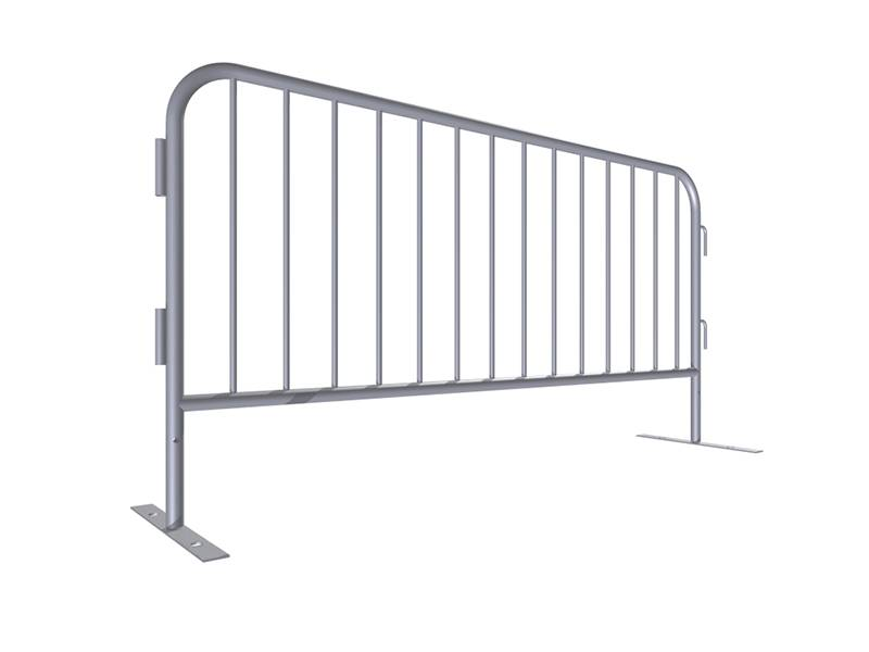 "A drawing of 72"" height steel barricade with flat feet."