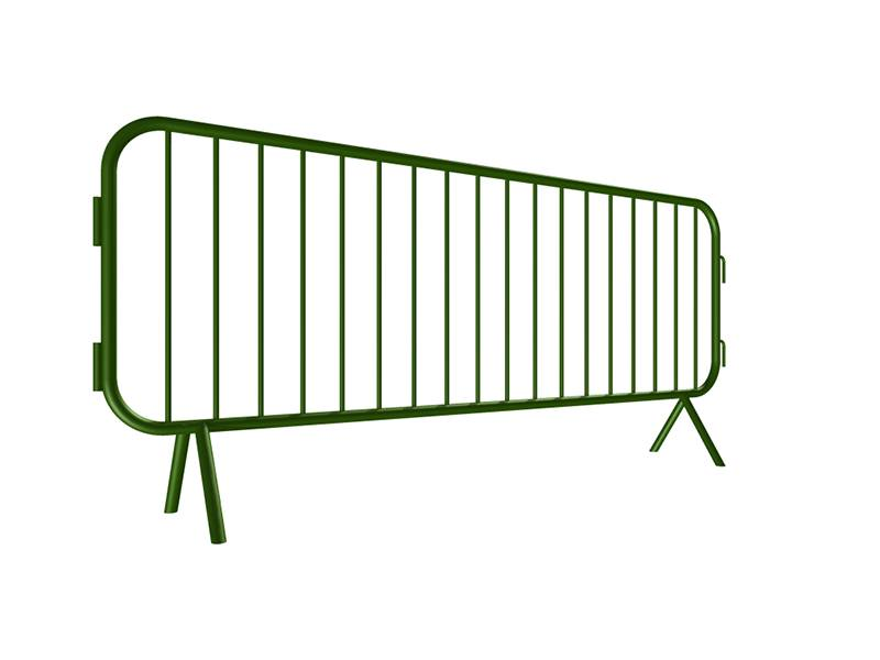 "A drawing of 98"" length steel barricade with fixed feet."
