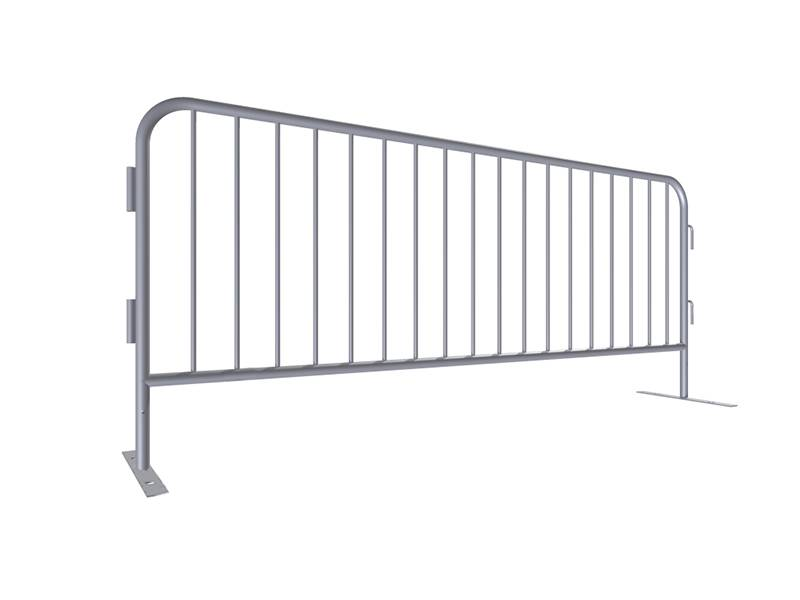 "A drawing of 98"" length steel barricade with flat feet."
