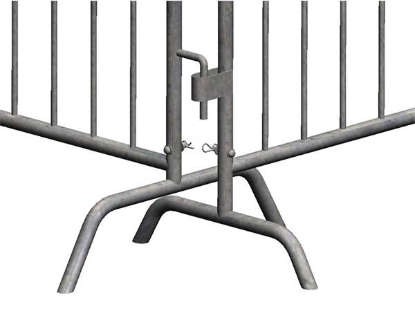 Two steel barricades with two different bridge feet for corner use.