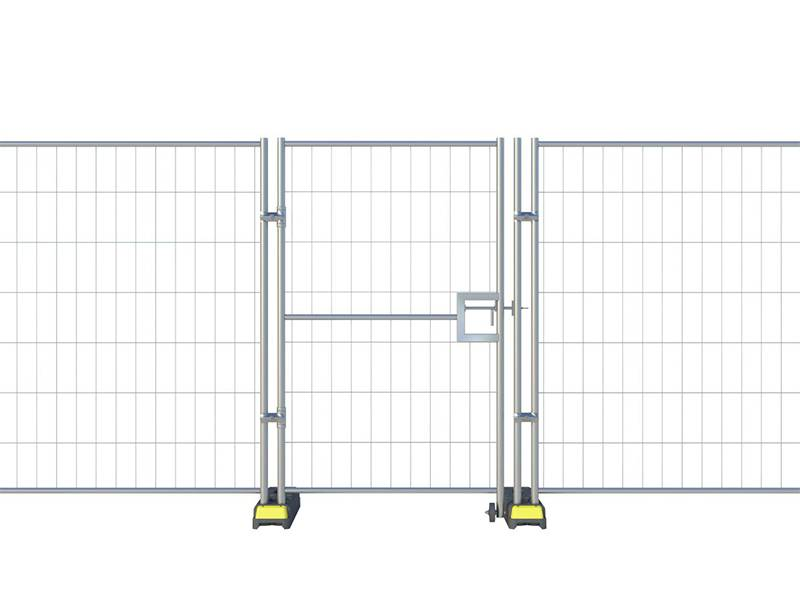 A drawing of Australia temporary fencing with pedestrian gate.