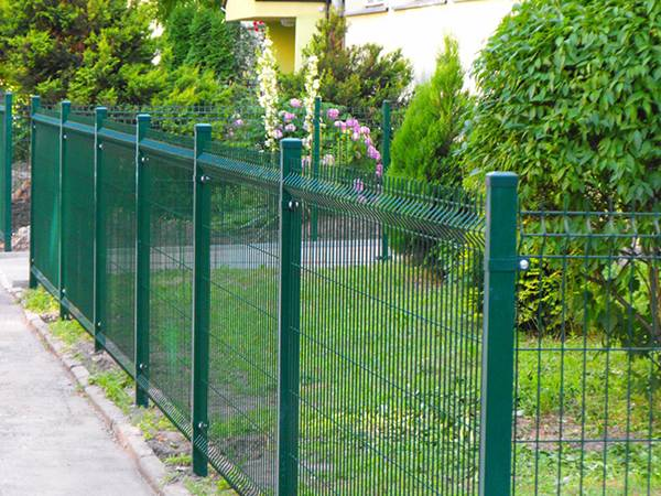 Curved wire mesh fences surround a garden.